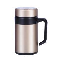 不锈钢保温杯商务男手柄办公室茶杯500ML水杯家用高档泡茶杯子带盖定制礼品 500ml