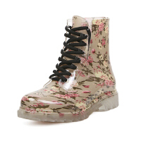 透明水晶果冻雨鞋 短筒韩版马丁雨靴女 复古碎花雨鞋平跟水鞋胶鞋