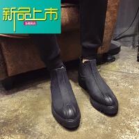 新品上市马丁靴男高帮皮鞋英伦韩版男靴厚底增高靴男中筒皮靴