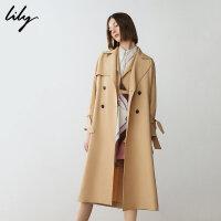 【2件4折到手价:331.6元】 Lily春新款女装chic商务长款双排扣系带风衣119110C1255