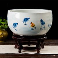 景德镇陶瓷客厅独立式鱼缸养鱼盆乌龟缸手绘荷花缸睡碗莲花盆摆件