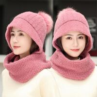 围巾围脖一体帽子女冬天两件套冬季保暖韩版潮百搭时尚针织毛线帽
