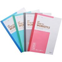 晨光笔记本A5无线装订本80页商务必备记事本(5本)颜色随机
