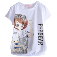 女童短袖T恤夏季卡通上衣中大童女孩半袖