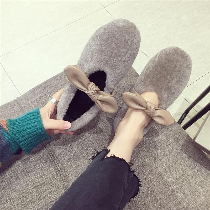 毛毛单鞋女2018秋冬新款时尚羊羔毛蝴蝶结舒适一脚蹬毛毛瓢鞋