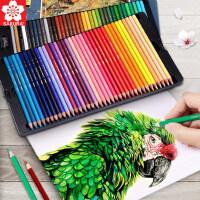 日本樱花油性彩铅48色铁盒初学者绘画学生用水溶性彩色铅笔72色画笔套装美术生用品36色水溶款彩铅笔专业手绘