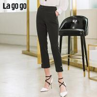 【清仓5折价134】lagogo2019春新款裤子黑色百搭高腰七分休闲裤阔腿裤女IAKK432A61