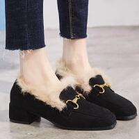 毛毛单鞋女冬季2018新品绒面英伦风加绒方头复古中跟乐福鞋