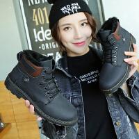 冬季韩版雪地靴保暖女鞋英伦加绒棉马丁靴学生高帮休闲鞋百搭系带 黑色 ZD01K