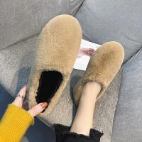 欧洲站新款秋冬毛毛 鞋子女平底一脚蹬懒人孕妇加绒保暖豆豆 鞋子单 鞋子潮