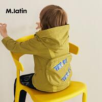 【6折价:227.4元】马拉丁童装男童新款秋装时尚儿童连帽风衣趣味图案满印外套潮