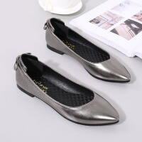 BANGDE软底滑舒适百搭软皮单鞋工作鞋女黑色平底尖头皮鞋职业上班鞋