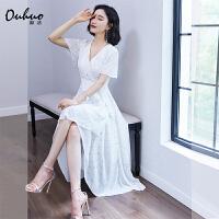 裙子女夏连衣裙白色印花新款名媛短袖中长款高腰系带不规则裙摆裙
