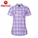 Marmot/土拨鼠女款户外运动轻量吸湿排汗透气格子短袖衬衫
