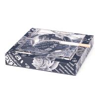 Janeouya欧式田园银色玫瑰纹创意个性水晶皮革烟灰缸桌面摆件抖音 银色玫瑰花(单个装)