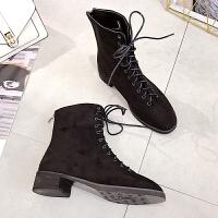 英伦风短靴厚底后拉链女鞋子潮秋冬马丁靴2018新款韩版系带中筒靴