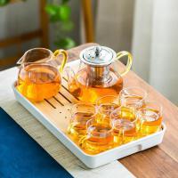 日式耐热玻璃功夫茶具套装家用简约现代花茶壶过滤红茶泡茶器茶杯