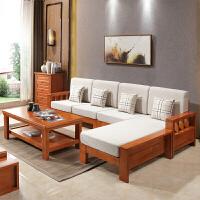沙发床客厅时尚新中式实木沙发组合客厅转角橡木沙发布艺小户型简约木质沙发床创意简约 + 组合