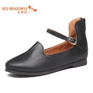 红蜻蜓女鞋秋冬皮鞋鞋子女单鞋WXB7418
