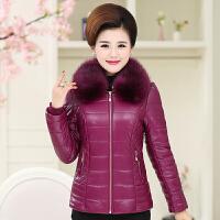 中老年女装冬装PU皮衣棉袄外套中年人妈妈装羽绒棉衣短款加厚