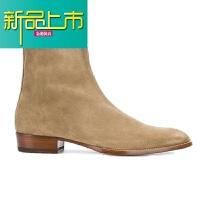 新品上市靴男短靴马丁靴C 拉链磨砂真皮尖头高帮休闲男鞋