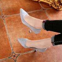 秋季高跟鞋女细跟气质5-6cm浅口磨砂百搭单根女士显瘦工作职业鞋