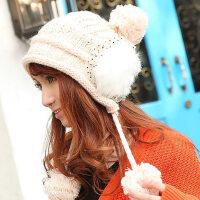 韩版绒毛护耳毛线帽 毛毛球套头绒线帽 保暖女帽