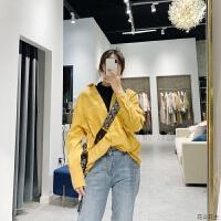 长袖女2018秋冬新款宽松韩版灯芯绒拼针织领假两件衬衣81175