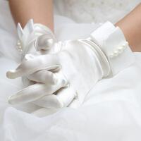 写真配饰缎面白色短款蝴蝶结新娘手套婚纱礼服短手套影楼拍照手套 乳白色