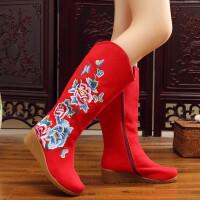 2018新款老北京绣花布靴子女中国风休闲时尚单靴民族风坡跟中筒靴