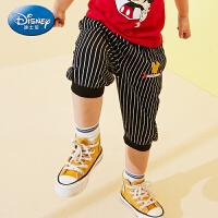 【99元3件】迪士尼宝宝童趣乐园男童针织纯棉七分裤正品童装夏季新款