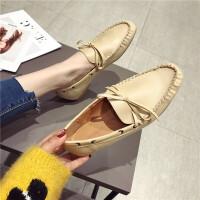 单鞋女2019新款时尚圆头蝴蝶结一脚蹬瓢鞋英伦风百搭气质豆豆鞋