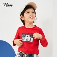 【2件3折价:44.4】迪士尼童装2020春季新款男童长袖T恤春秋宝宝纯棉打底衫儿童上衣