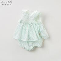 [2件3折价:78.9]davebella戴维贝拉夏装新款女童连体衣婴幼儿全棉短爬