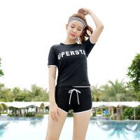 游泳衣女三件韩国温泉小香风保守显瘦遮肚学生运动分体泳装套装