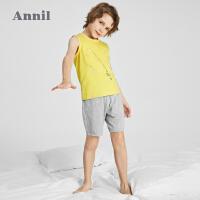 【2件4折价:67.6】安奈儿童装男童背心套装2021新款纯棉夏季透气背心短裤两件套外穿