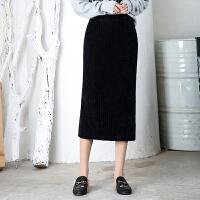 针织半身裙女秋冬高腰中长款字裙仿开叉一步裙半身裙包臀裙 均码(适合85-125斤)