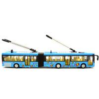 公交车 大号加长合金大巴玩具城市双节公交车有轨电车双层巴士客车长途车 双节公交巴士黄色盒装 不带天线