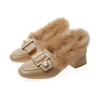 兔毛鞋毛毛鞋女新款百保暖加绒平底一脚蹬兔毛单鞋女毛鞋