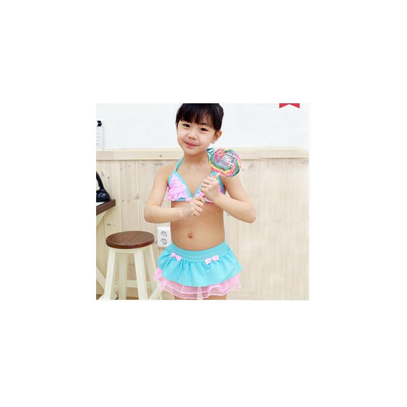 女童可爱泳衣 韩国宝宝儿童裙式比基尼游泳衣女童泳装