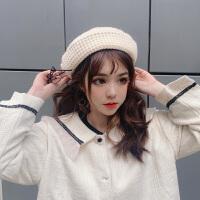 针织毛线帽贝雷帽女夏季薄款英伦复古秋冬韩版日系网红款八角帽子