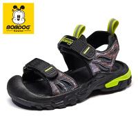 巴布豆bobdoghouse儿童凉鞋2021新款夏季男女童软底时尚中大童沙滩鞋子-黑荧光绿