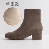 2019新款秋冬女鞋方头靴子女粗跟绒面中跟低筒靴加绒短靴女