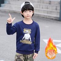 童装男童加绒长袖卫衣T恤秋冬外套中大儿童吃鸡蜘蛛侠打底衫