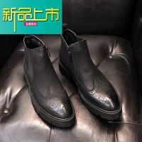 新品上市18秋冬新款加绒暖韩中帮男靴子潮流复古高帮皮鞋男英伦风马丁靴