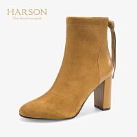 【 限时4折】哈森 2019冬季新款欧美风弹力织物深口圆头粗高跟短靴女 HA95807