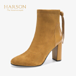 【 立减120】哈森 2019冬季新款欧美风弹力织物深口圆头粗高跟短靴女 HA95807
