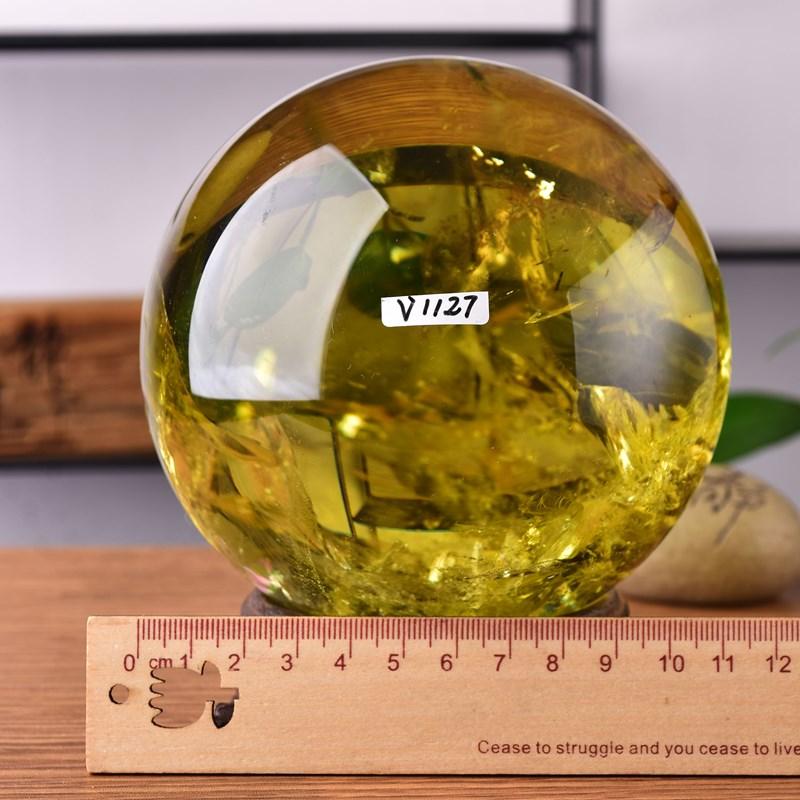 天然黄水晶球摆件玄关风水三寸事业财富黄晶运势*原石证书