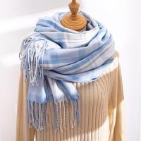 围巾女冬季韩版百搭长款冬季格子围脖冬天加厚保暖流苏大围巾披肩