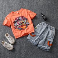 童装男童夏装套装儿童短袖运动中大童男孩帅气两件套